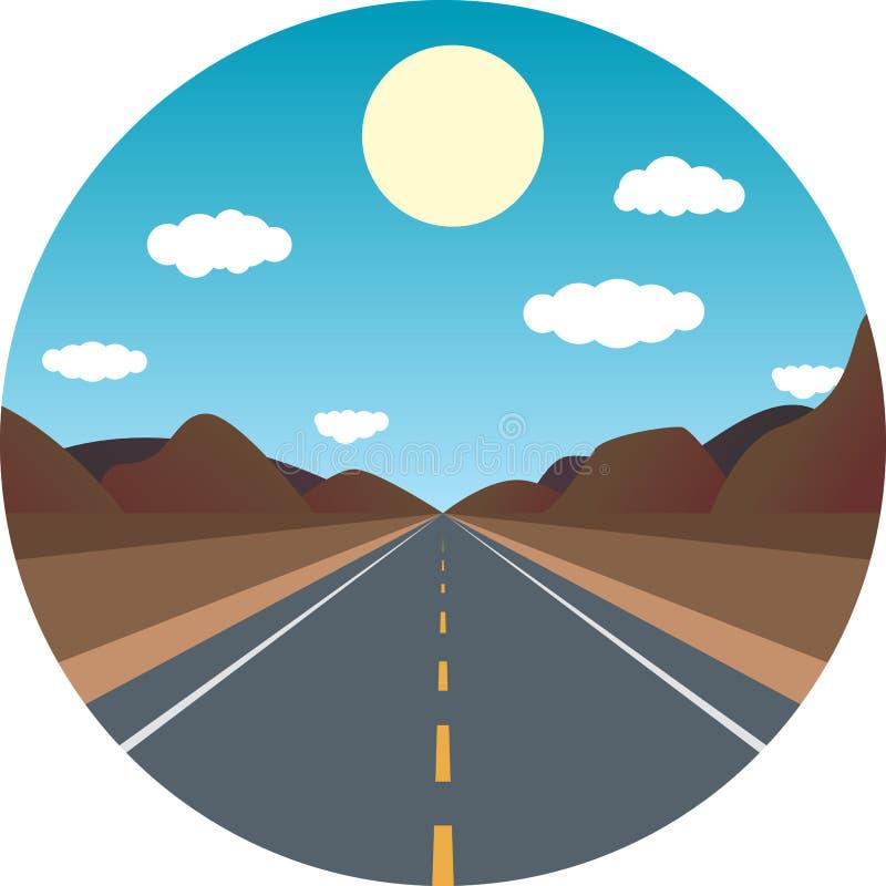 Camino recto a continuación por la tarde en las montañas stock de ilustración