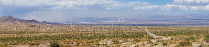 Camino recto Joshua Tree Park siguiente del desierto sin fin imagen de archivo