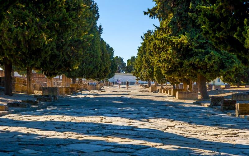 Camino romano antiguo en Italica foto de archivo libre de regalías