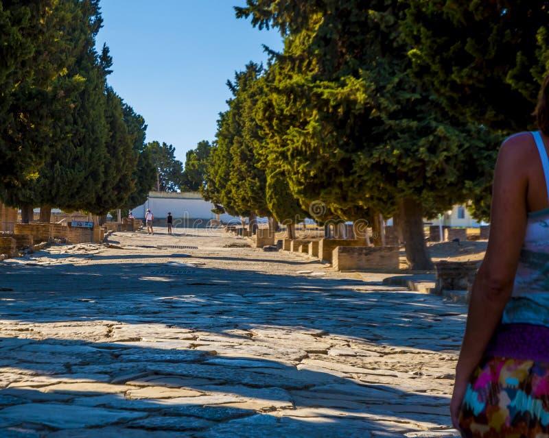 Camino romano antiguo en Italica imagenes de archivo