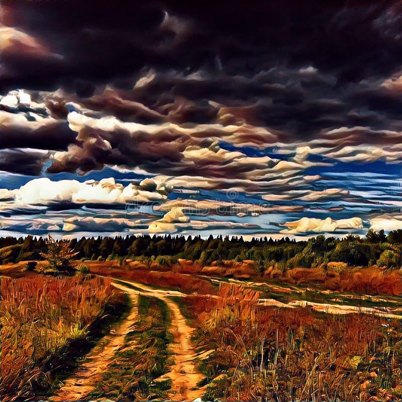 Camino rural en campo del campo durante puesta del sol Paisaje de la tarde con el campo y el camino libre illustration