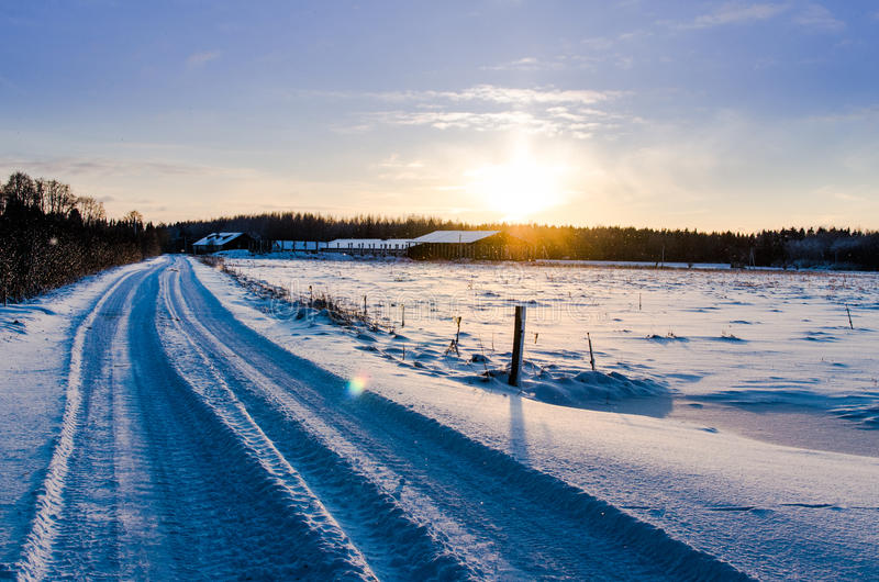Camino rural Nevado en la salida del sol imagenes de archivo