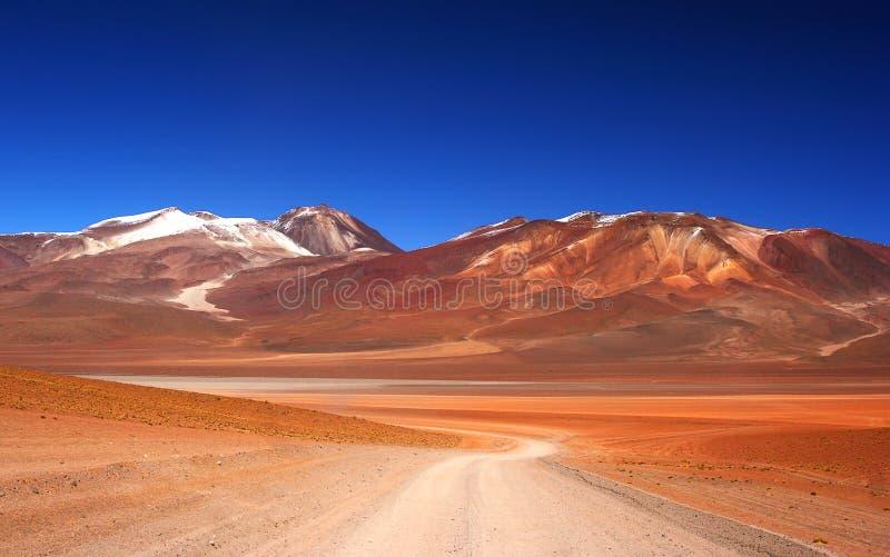 Camino solo en el desierto imagen de archivo