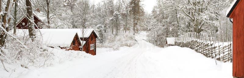 Camino sueco del invierno imagenes de archivo