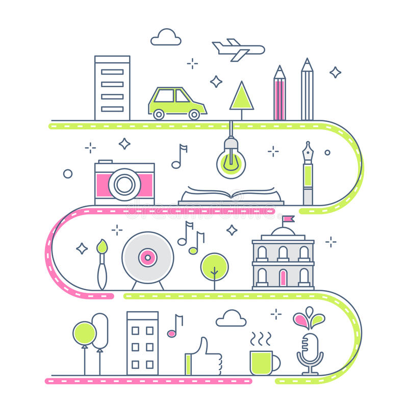 Camino a través de la línea imaginaria ciudad Concepto de proceso creativo Ilustración ilustración del vector