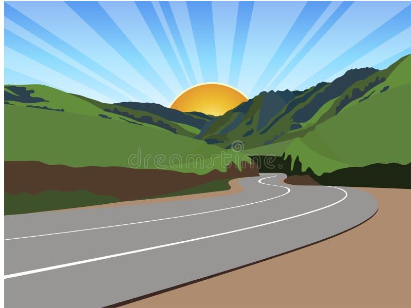 Camino a través de las montañas ilustración del vector