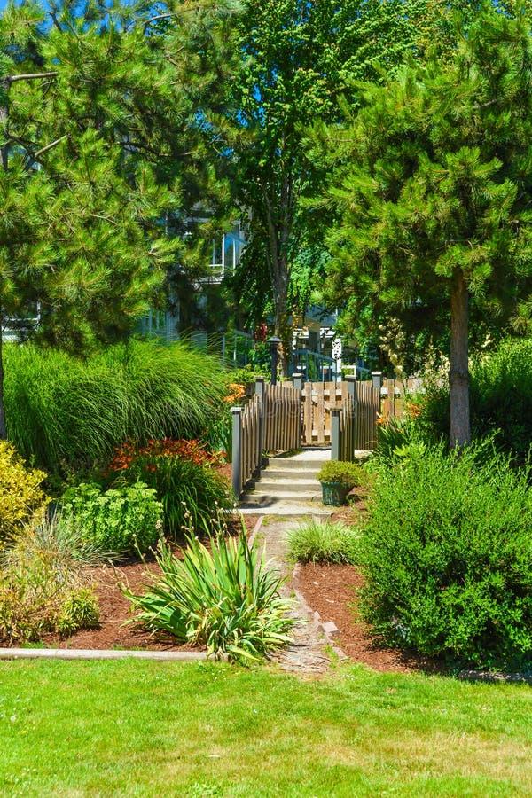 Camino a través del jardín recreativo del verano en área residencial imagen de archivo libre de regalías