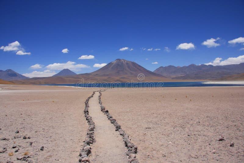Camino a un lago del desierto fotos de archivo