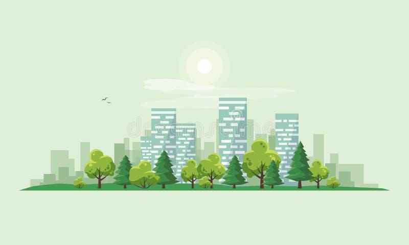 Camino urbano de la calle del paisaje de la ciudad con los árboles y el horizonte Backgrou ilustración del vector