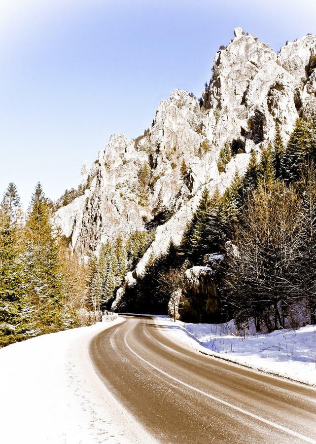 Camino vacío en las montañas del invierno foto de archivo libre de regalías