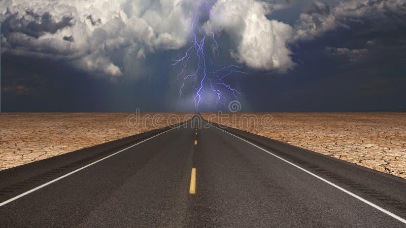 Camino vacío en tormenta de desierto ilustración del vector