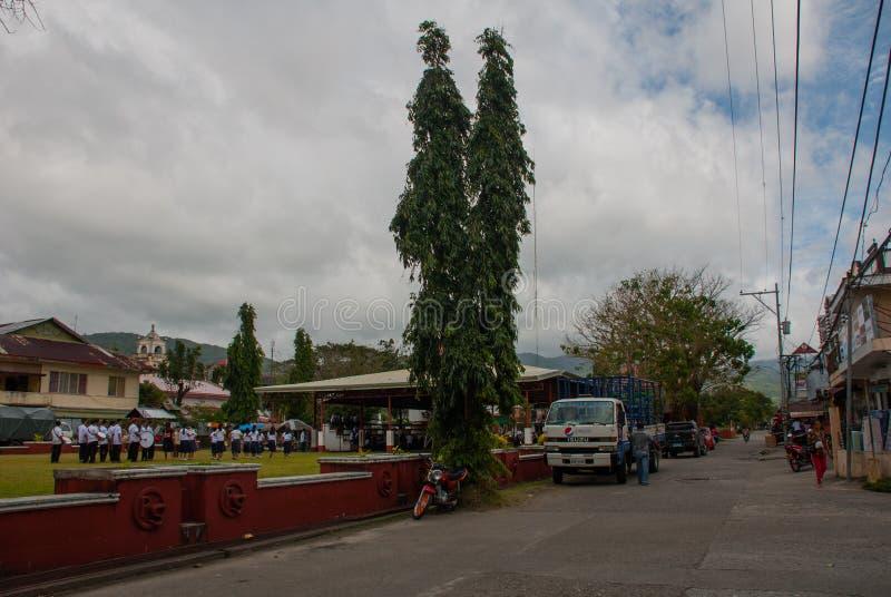 Camino y árboles en las escuelas, donde alumnos que marchan a la música filipinas fotos de archivo libres de regalías