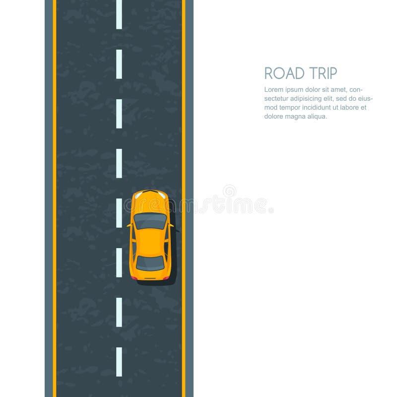 camino y automóvil, visión superior ilustración del vector