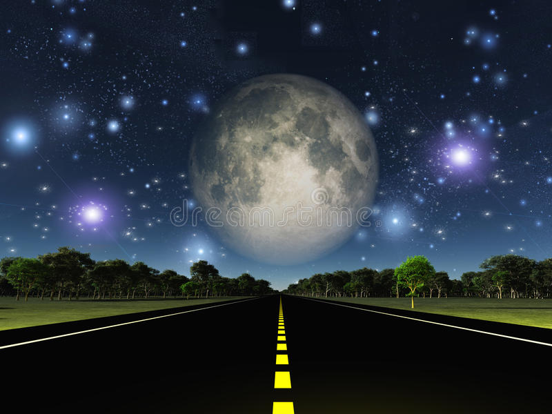 Camino y estrellas vacíos libre illustration