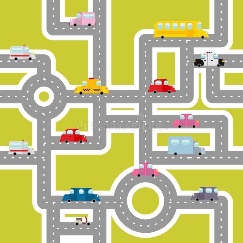 Camino y modelo inconsútil del transporte Mapa de la historieta de coches stock de ilustración
