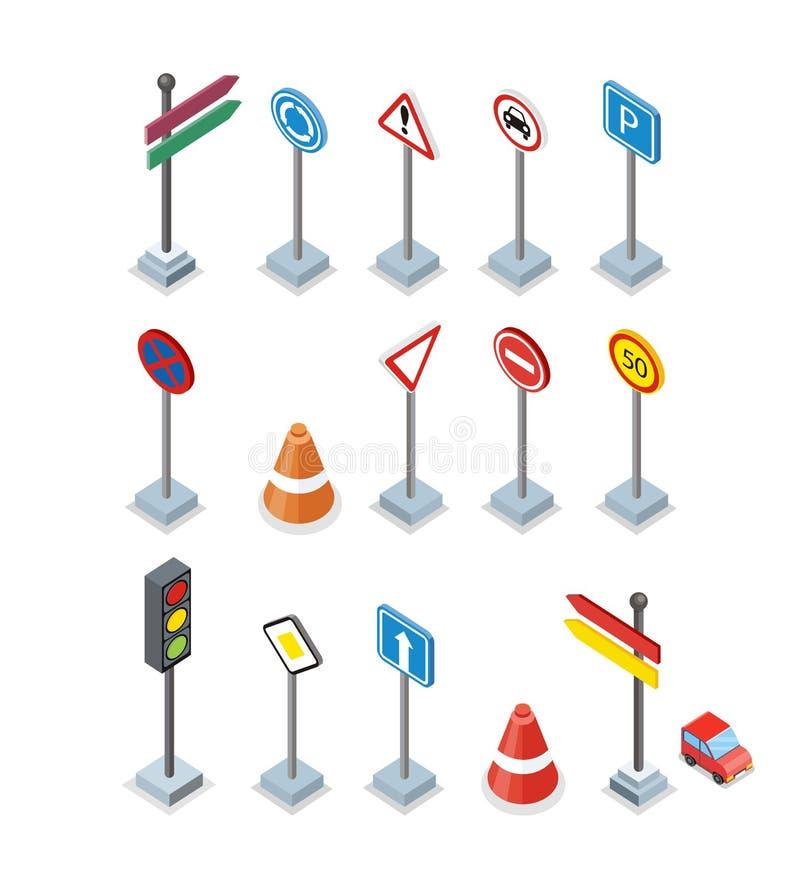 Camino y placas de calle fijados Carteleras de Warrnings ilustración del vector