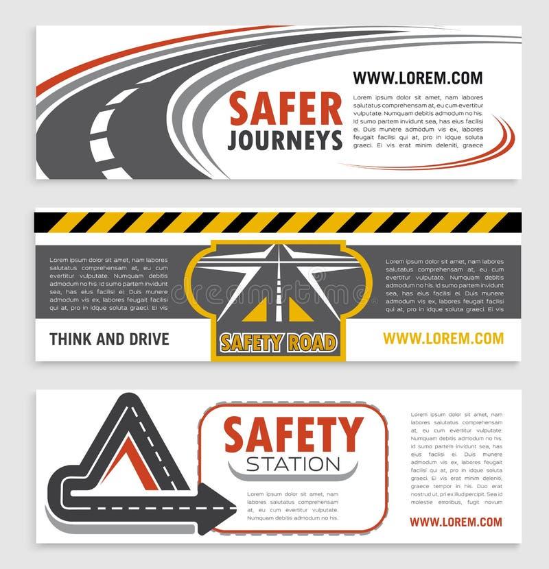 Camino y sistema de la plantilla de la bandera de la seguridad de tráfico libre illustration