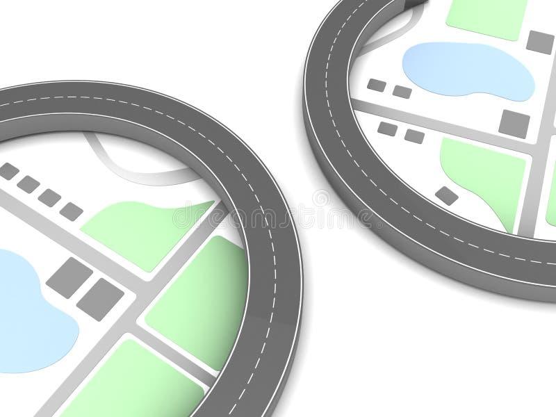 caminos 3d y mapa stock de ilustración