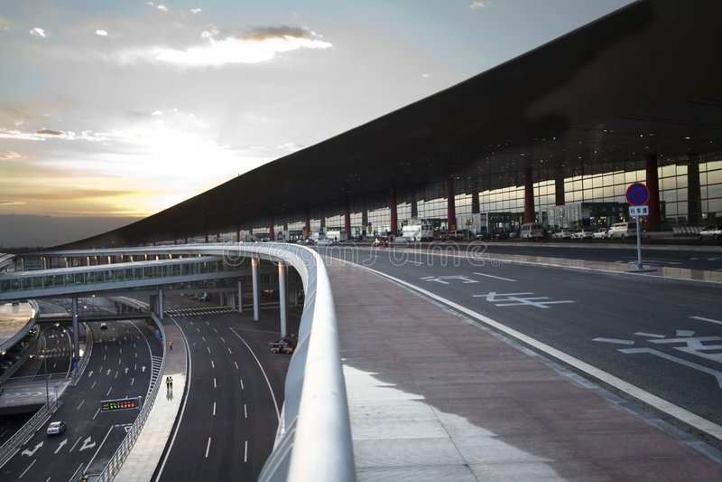 Caminos del aeropuerto de Pekín foto de archivo