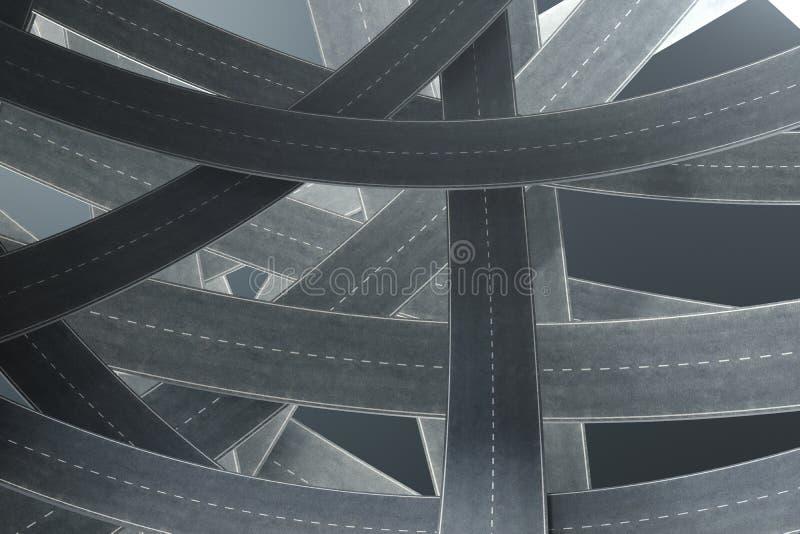 Caminos enredados, en fondo gris Nudo abstracto del camino Viaje del concepto, transporte ilustración 3D ilustración del vector