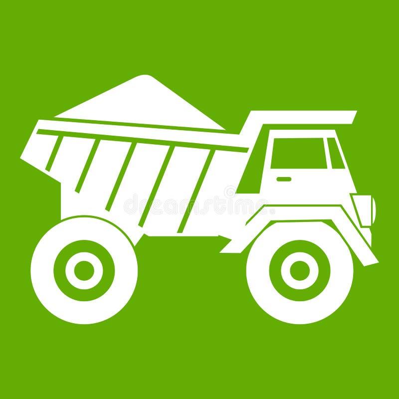 Camion à benne basculante avec le vert d'icône de sable illustration de vecteur