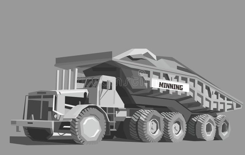 Camion à benne basculante dans la couleur grise illustration de vecteur