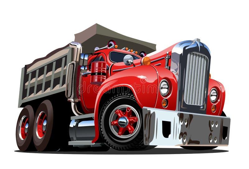 Camion à benne basculante de bande dessinée de vecteur rétro illustration libre de droits