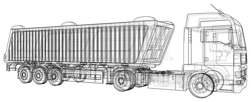 Camion à benne basculante de vecteur Camion de verseur sur le fond transparent emballage de l'illustration de 3d Format de vecteu illustration stock