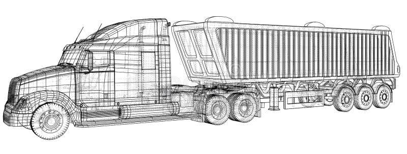 Camion à benne basculante de vecteur Camion de verseur sur le fond transparent emballage de l'illustration de 3d Format de vecteu illustration de vecteur