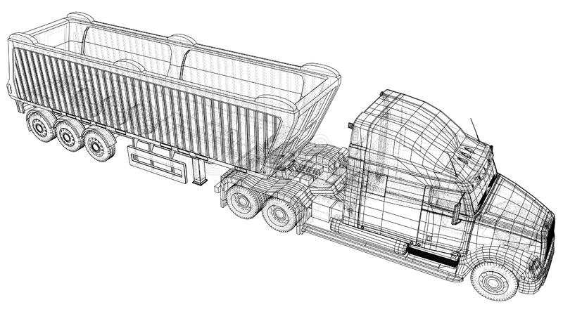 Camion à benne basculante de vecteur Camion de verseur sur le fond transparent emballage de l'illustration de 3d Format de vecteu illustration de vecteur