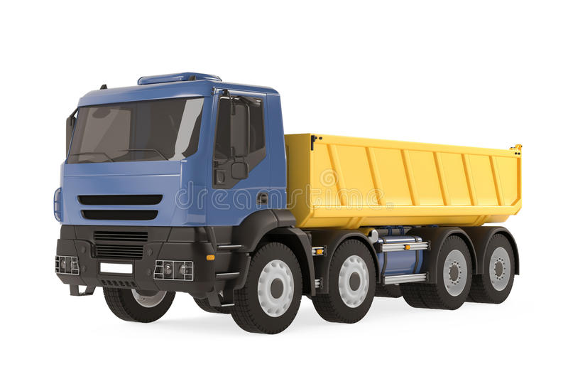 Camion à benne basculante de verseur d'isolement. Bleu jaune photos stock