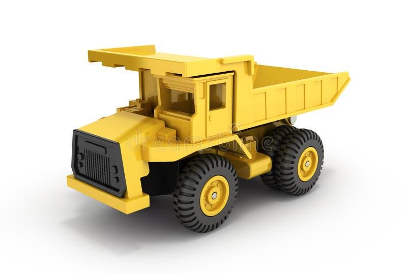 Camion à benne basculante jaune de jouet d'isolement sur le fond blanc 3d pour rendre illustration libre de droits