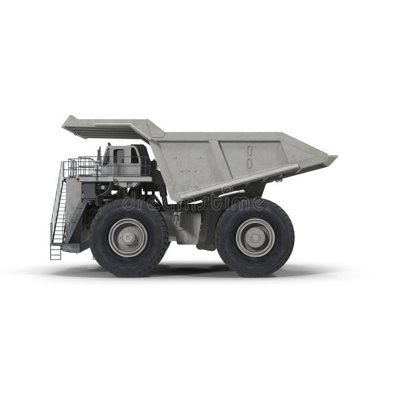 Camion à benne basculante lourd d'exploitation sur le blanc Vue de côté illustration 3D illustration libre de droits