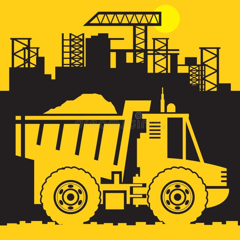 Camion à benne basculante, machines de puissance de construction illustration libre de droits
