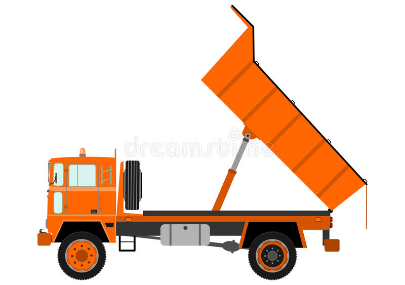 Camion à benne basculante orange illustration stock