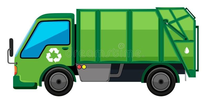 Camion à ordures dans la couleur verte illustration de vecteur