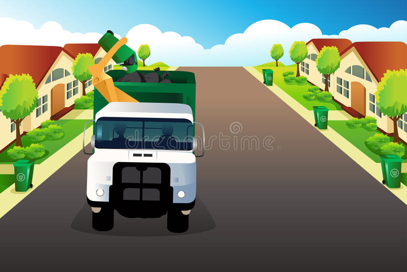 Camion à ordures prenant des déchets illustration stock