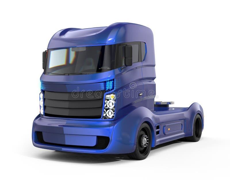 Camion électrique hybride bleu métallique d'isolement sur le fond blanc illustration stock