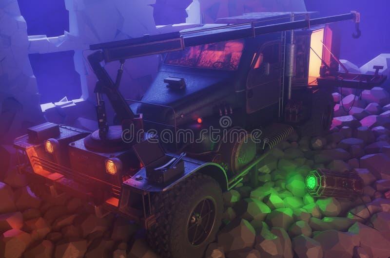 Camion apocalyptique de courrier de survie avec la grue sur les ruines, la voiture de zombi ou la moissonneuse de ressource, 3d r illustration libre de droits