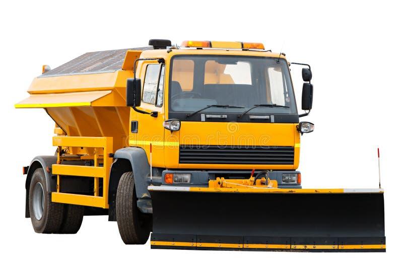 Camion arancio dell'aratro di neve fotografia stock libera da diritti