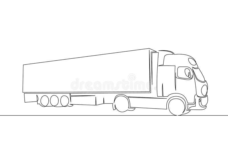 Camion avec l'entraînement de remorque de cargaison illustration de vecteur