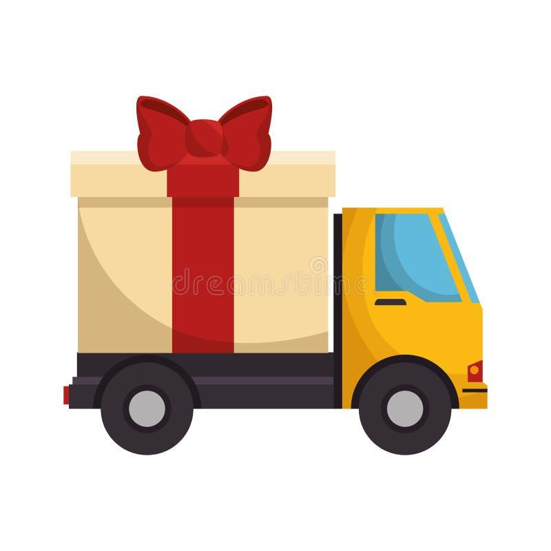 Camion avec l'icône d'isolement par présent de giftbox illustration stock