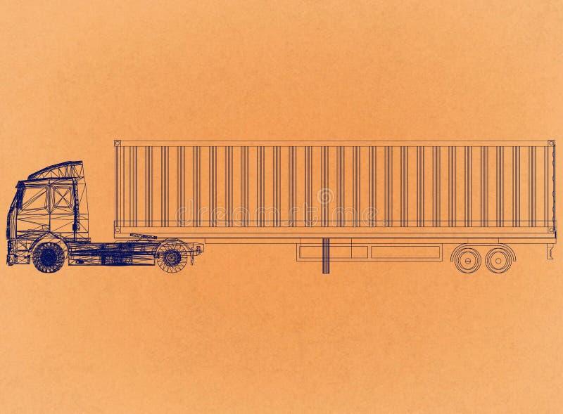 Camion avec la conception de remorque - rétro architecte Blueprint illustration de vecteur