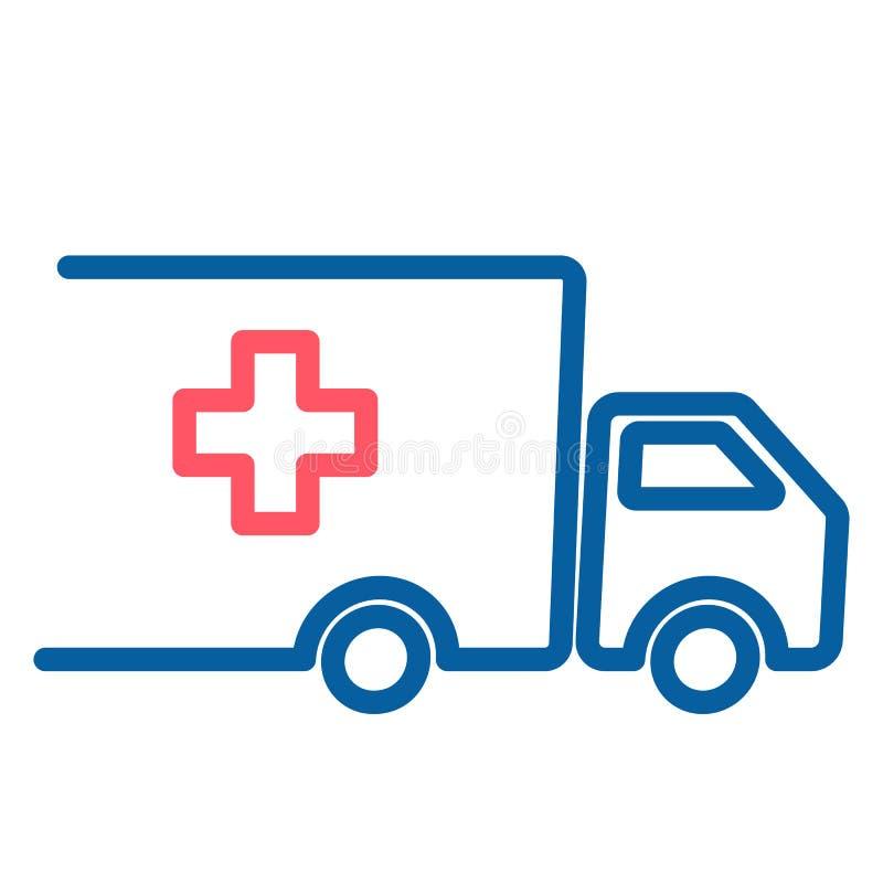 Camion avec la croix icône médicaux et d'approvisionnements alimentaires Illustration au trait mince vecteur illustration de vecteur