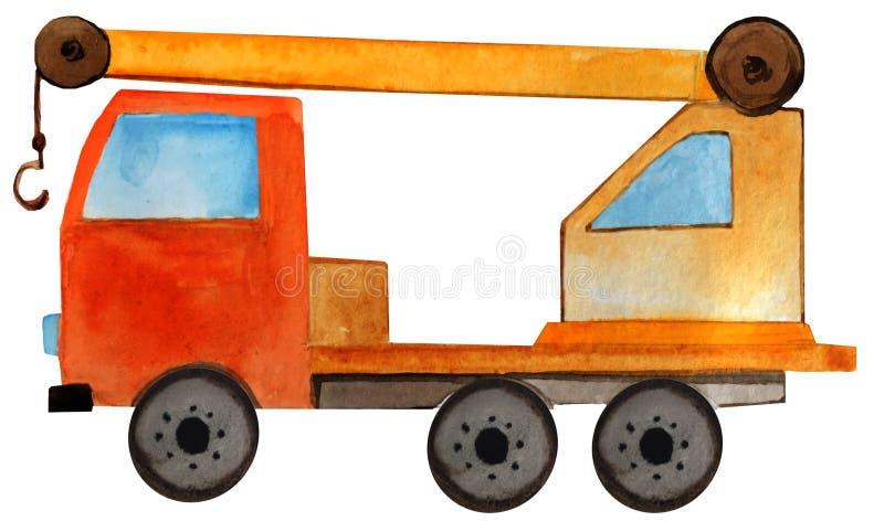 Camion avec la grue Illustration de bande dessin?e d'aquarelle illustration libre de droits