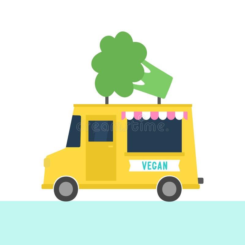 Camion avec la nourriture de vegan Sautez le café illustration libre de droits