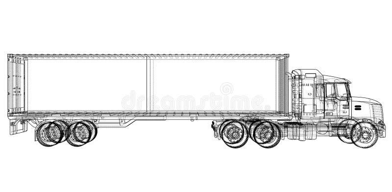 Camion avec la semi-remorque illustration libre de droits