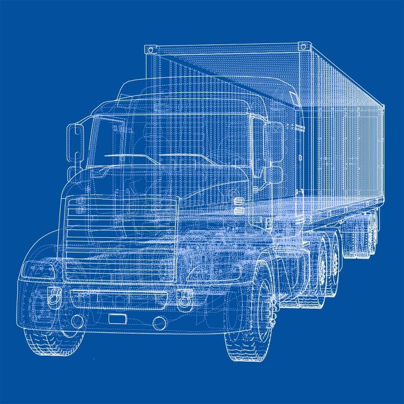 Camion avec la semi-remorque Vecteur illustration libre de droits