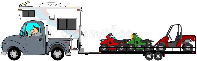 Camion avec le campeur remorquant ATV illustration de vecteur