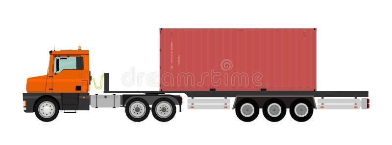 Download Camion avec le conteneur illustration de vecteur. Illustration du logistique - 45350371